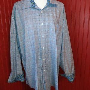Alan Flusser Plaid Long Sleeve Dress Shirt XXL
